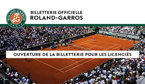 Roland-Garros 2017- Billeterie pour les licenciés